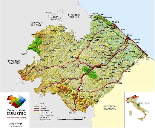 Cartina Geografica Provincia Di Pesaro Urbino.Carte Geografiche Turistiche Provincia Pesaro E Urbino Ernesto Paleani Editore